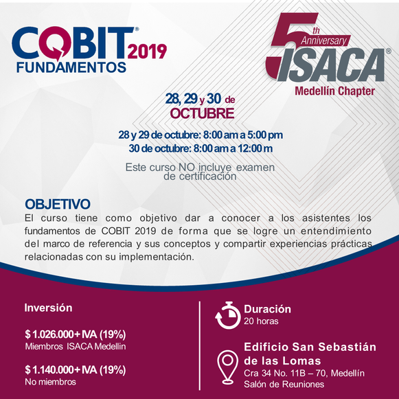 Curso de Fundamentos COBIT 2019 Medellín, Octubre 2019