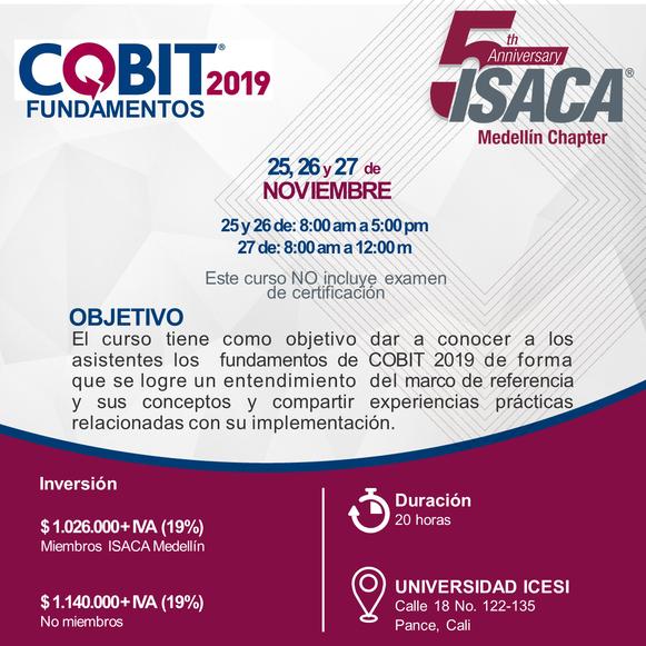 Curso de Fundamentos COBIT 2019 Cali, Noviembre 2019