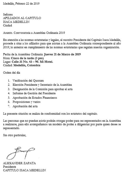 Citación a Asamblea Ordinaria de 2019