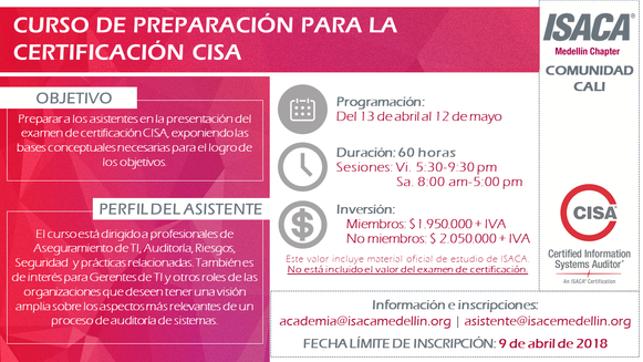 Curso de preparación para la presentación del examen de certificación CISA