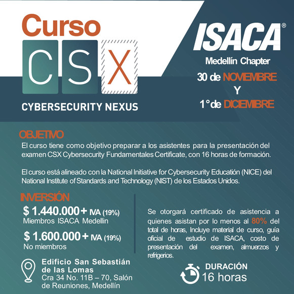 Curso Preparatorio CSX - Cybersecurity Fundamentals Medellín, Noviembre y Diciembre de 2018