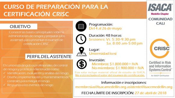 Curso para la preparación del examen de certificación CRISC - Cali Mayo de 2018