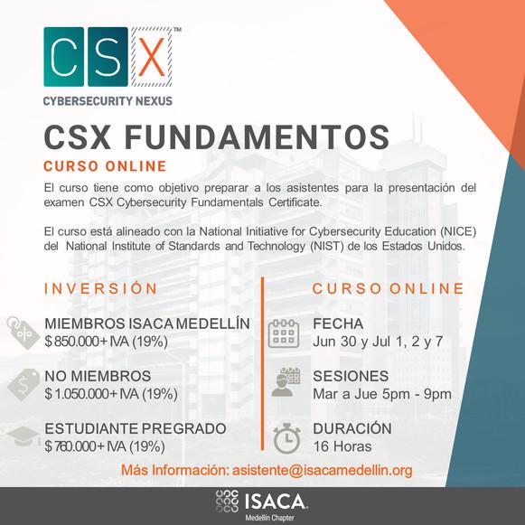 Curso CSX Fundamentos Online Junio 30 y Julio 1, 2 y 7