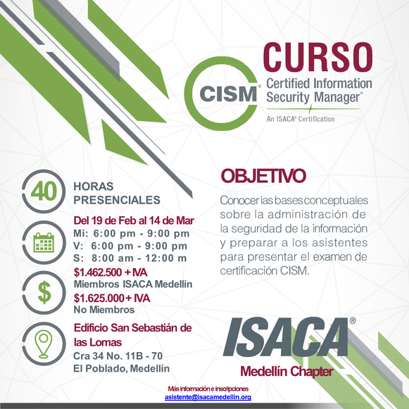 Curso de preparación para el examen de certificación CISM Medellín, Febrero / Marzo 2020