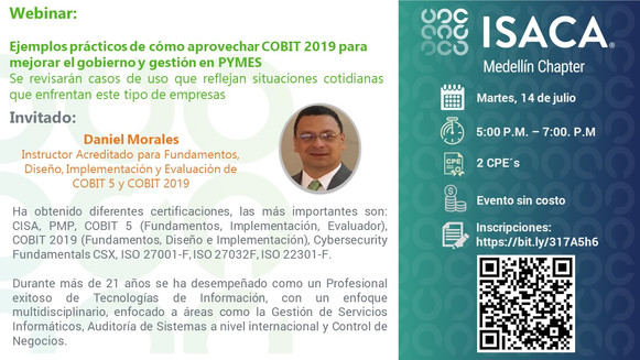 Webinar: Ejemplos prácticos de cómo aprovechar COBIT 2019 para mejorar el gobierno y gestión en PYME