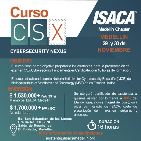 Curso Preparatorio CSX - Cybersecurity Fundamentals, Medellín, Noviembre 2019