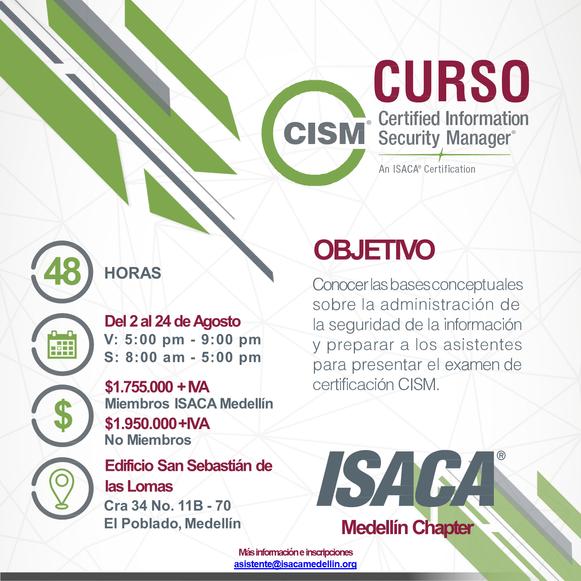 Curso de preparación para el examen de certificación CISM Medellín - Agosto 2019