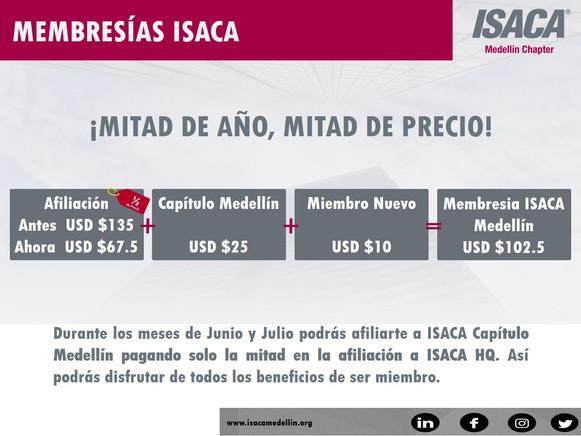 MEMBRESIA ISACA - OFERTA DE MITAD DE AÑO