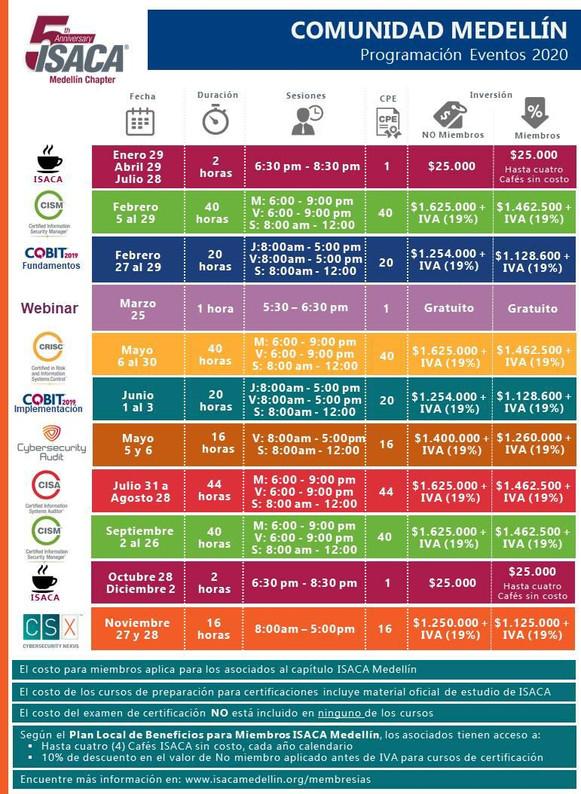 Cronograma de Eventos 2020 - Medellín