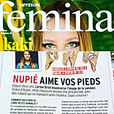 Version Femina Juin 2017 | nupié, nupie, sandals, sandales, rubans, handmade, interchangeable, nu pied