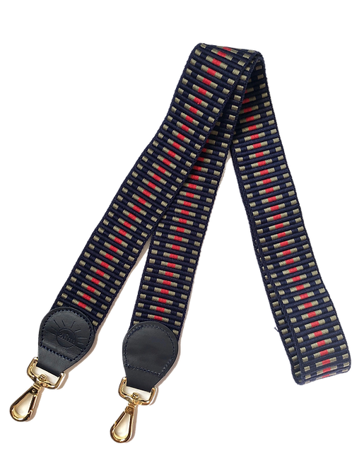 ANSE CUIR BLEU MARINE, tissage kaki, bleu marine, rouge