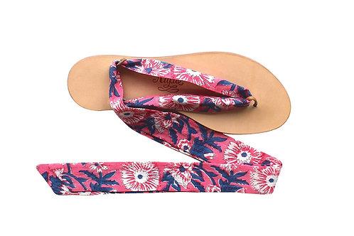 Sandales Nupié avec liens Blockprint Flowers Pink