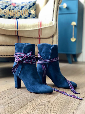 nupié, nupie, blue boots, winter collection, boots, rubans, handmade