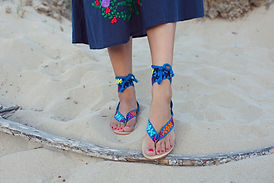 nupié, nupie, sandals, sandales, rubans, handmade, maya, blue, sand, model