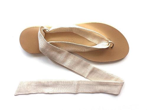 Sandales Nupié Gold avec Liens Lamé Or