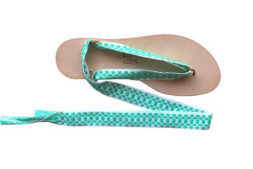 Sandales Nupié avec liens Hydra Turquoise