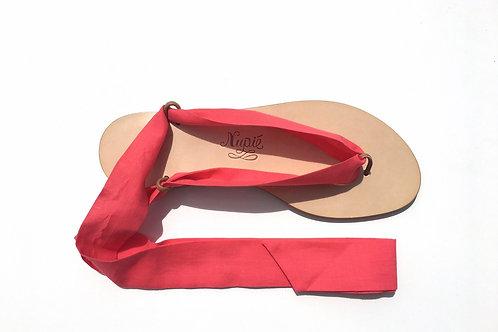 Sandales Nupié avec liens Corail