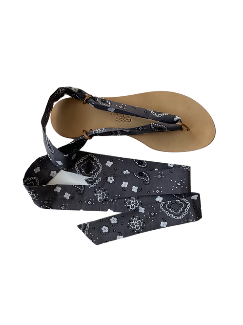 Sandales avec rubans Bandana gris
