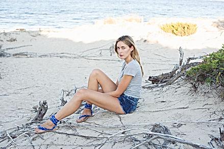 nupié, nupie, sandals, sandales, rubans, ikat blue, model, beach