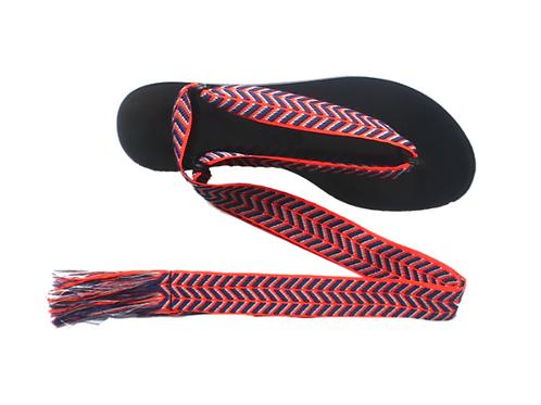 Sandales Nupié avec liens Zig Zag Orange