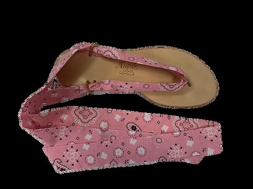 Sandales avec rubans Bandana rose