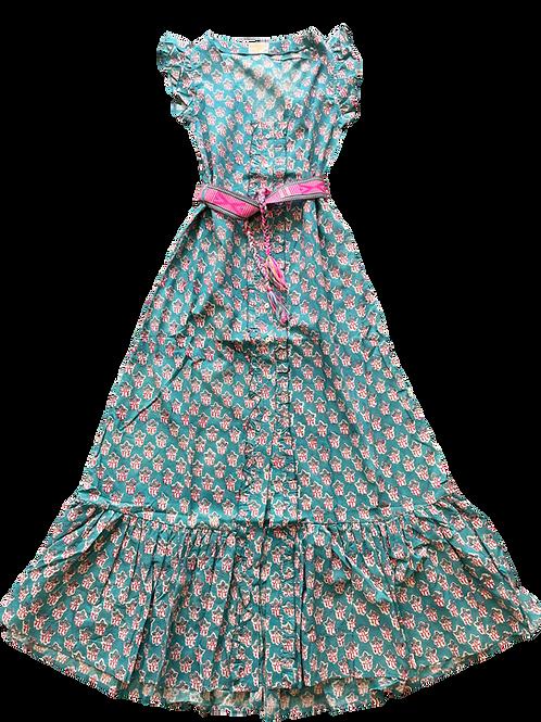 Nupié Resort Robe Blockprint coton turquoise