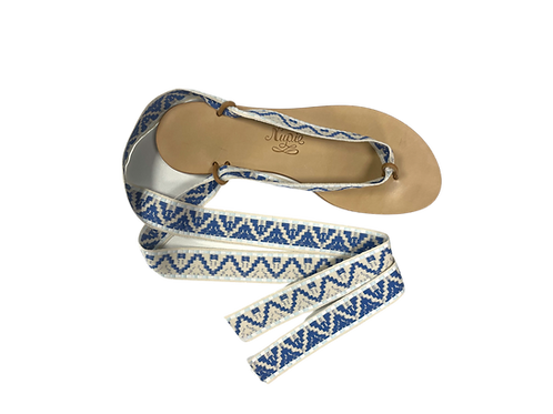 Sandales avec rubans sifnos bleu