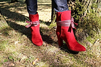 nupié, nupie, red boots, winter collection, ruban
