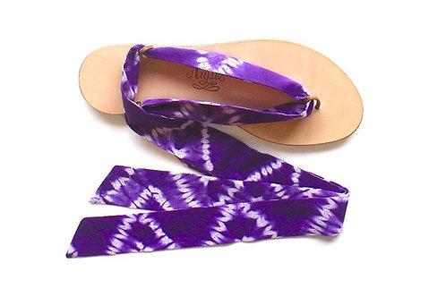 Sandales Nupié avec liens Tie and Dye Violet