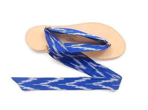 Sandales Nupié avec liens Ikat Bleu
