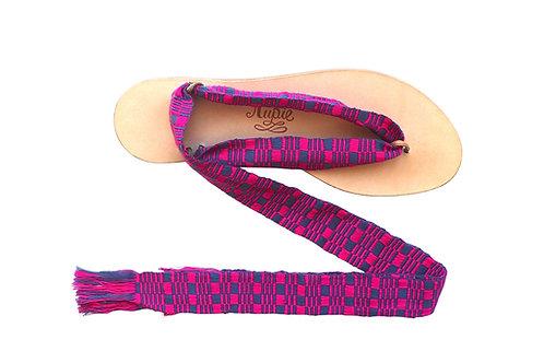 Sandales Nupié avec liens Kayan Pink