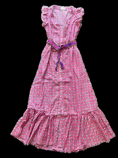 Nupié Resort Robe Blockprint coton rose