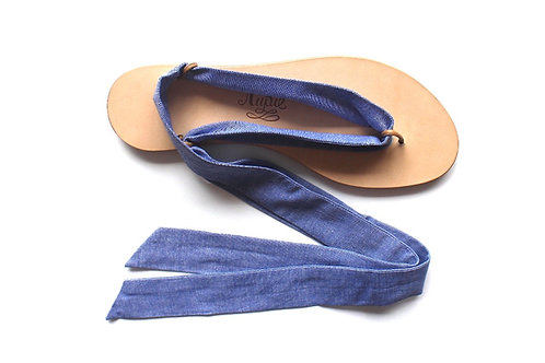 Sandales Nupié avec liens Chambray