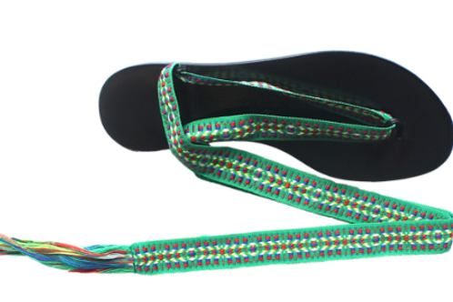 Nupié Sandals with Spetses Green ribbons