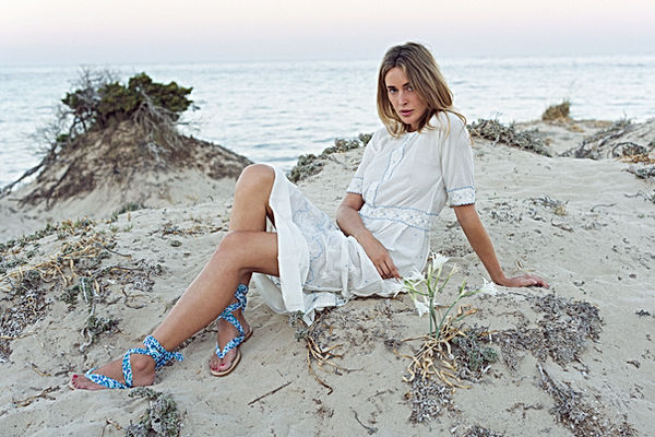 nupié, nupie, sandals, sandal, ruban, handmade, liberty, liberty blue, model, shoot