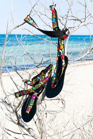 nupié, nupie, sandals, sandales, rubans, black sole, handmade, puebla, sea
