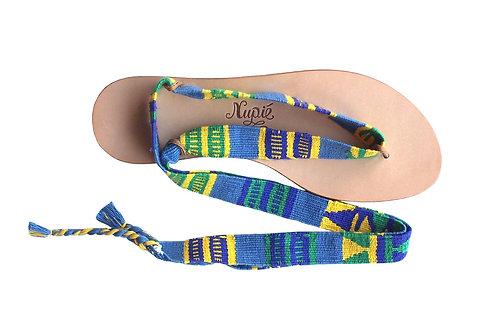 Sandales Nupié avec liens Pepito Blue Green