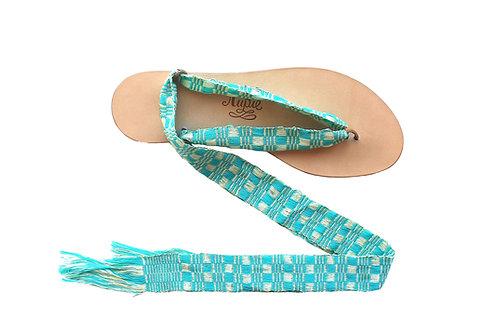 Sandales Nupié avec liens Kayan Turquoise