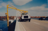 Snooper Truck being used on the longest bridge over the Susquehanna river. Replacing Telephone cables in Havre de Grace MD