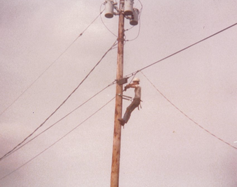 Owner, Dave Wright, working on a telephone line.