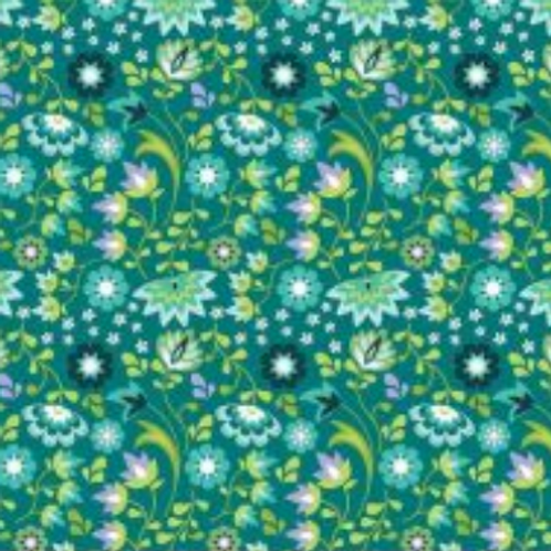 Lucy's Garden Floral Teal by Riley Blake