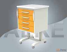 4 drawer portable clinical cabinet