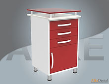glass surface dental clinical cupboard 3 drawers