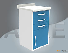 acrylic (corian) surface clinic cupboard 3 drawer