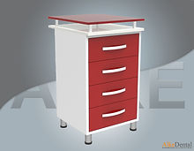 glass surface dental clinical cupboard 4 drawers