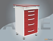 glass surface dental clinical cupboard 5 drawers