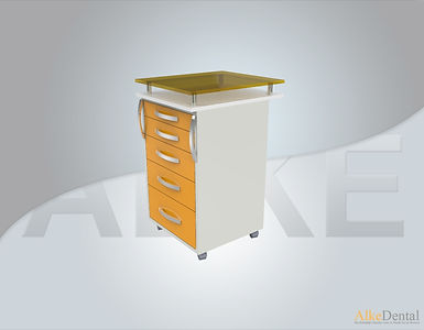5 Drawers Glass Surface Portable Clinical Cabinet Model Sd-Gls-M5