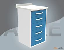 acrylic (corian) surface clinic cupboard 5 drawer