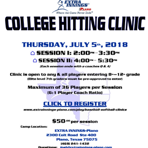 College Hitting Clinic - SIGN UP NOW!!