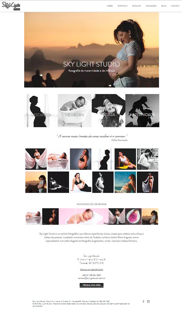 nova home page do site do Sky Light Studio